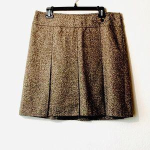 Ann Taylor LOFT | Brown Tweed Pleated Skirt